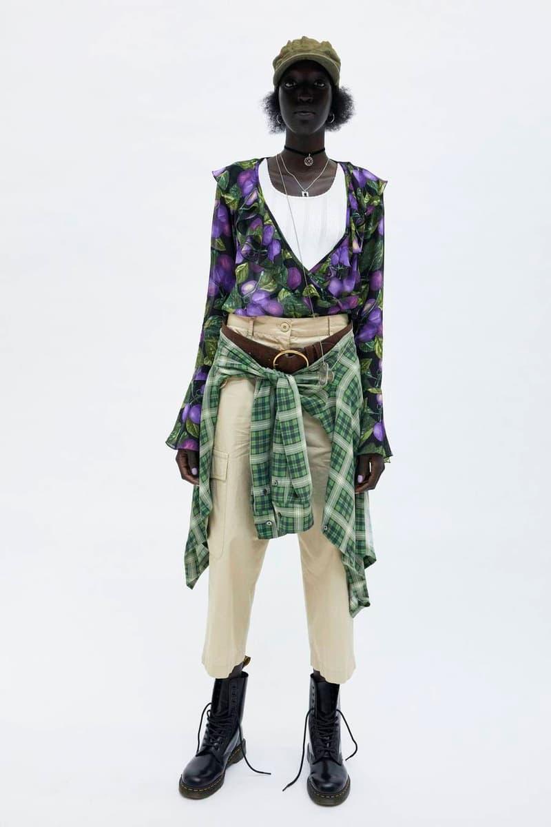 Marc Jacobs Resort 2019 Redux Collection Printed Deep V-Wrap Blouse Black Purple Wide-Leg Cargo Pant Tan