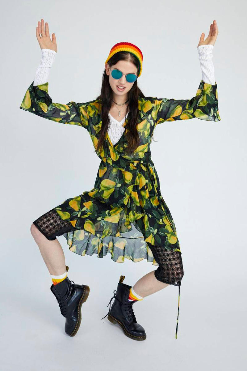 Marc Jacobs Resort 2019 Redux Collection Printed Bell Sleeve Wrap Dress Yellow Green