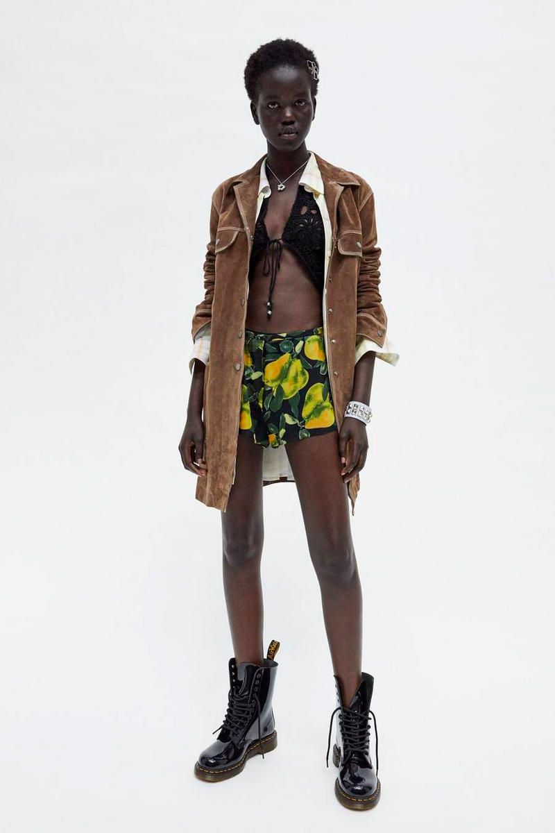 Marc Jacobs Resort 2019 Redux Collection Suede Overcoat Brown Crochet Vest Black Printed Short Yellow Green