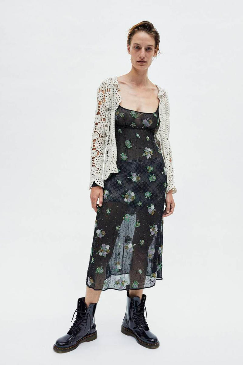 Marc Jacobs Resort 2019 Redux Collection Floral Embroidered Chiffon Dress Black Crochet Open Cardigan Tan