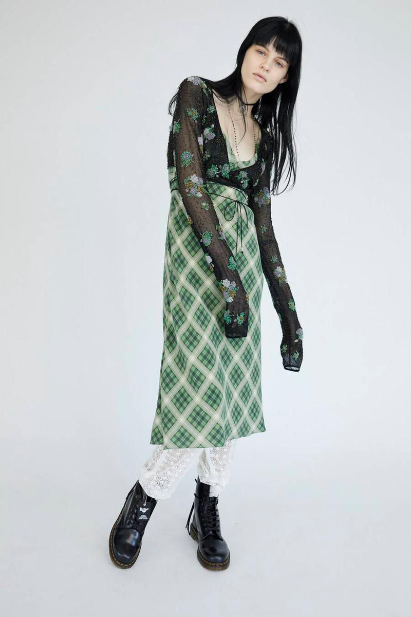 Marc Jacobs Resort 2019 Redux Collection Plaid Strap Midi Dress Green White Floral Embroidered Chiffon Crop Top Black