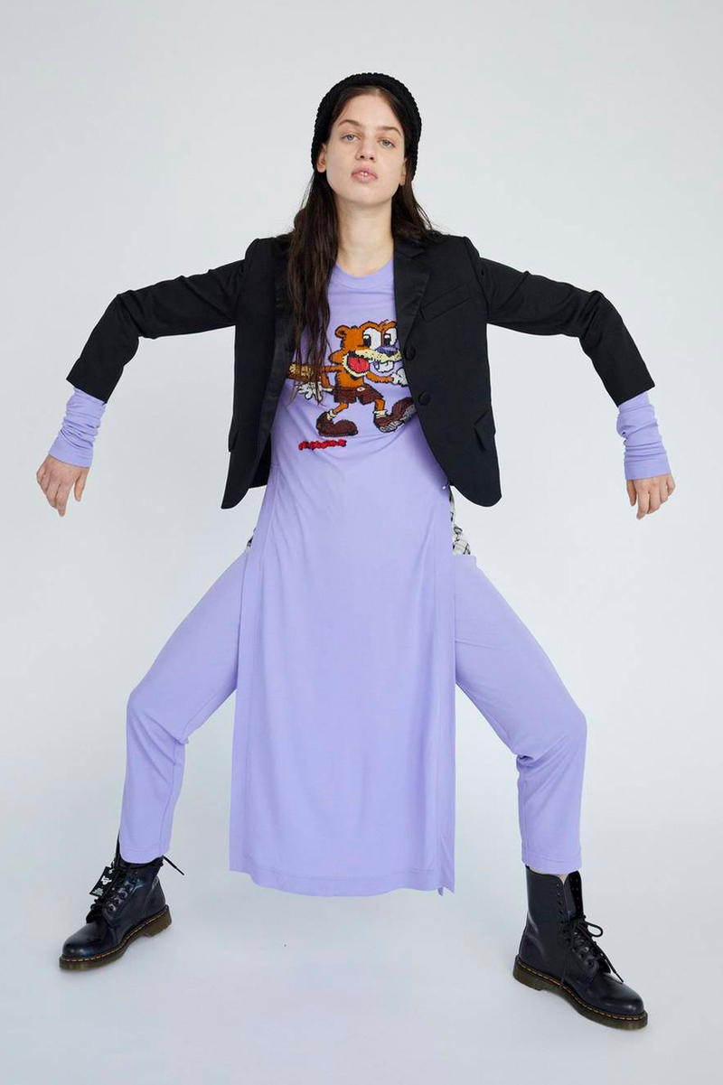 Marc Jacobs Resort 2019 Redux Collection R. Crumb Beaded Dress Wide-Leg Jersey Pant Purple