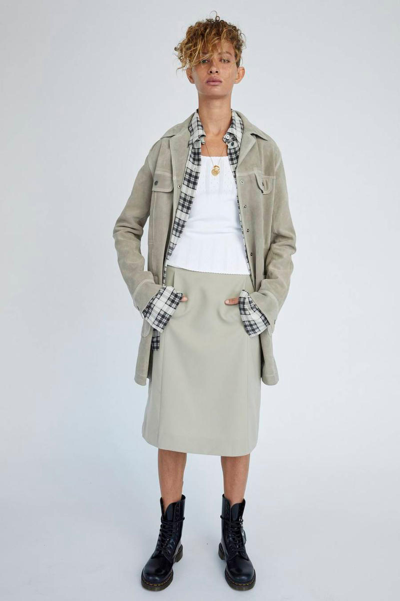 Marc Jacobs Resort 2019 Redux Collection Suede Overshirt A-Line Skirt Tan Pointelle Tank Top White Dr. Martens 10-Eye Leather Boot Black
