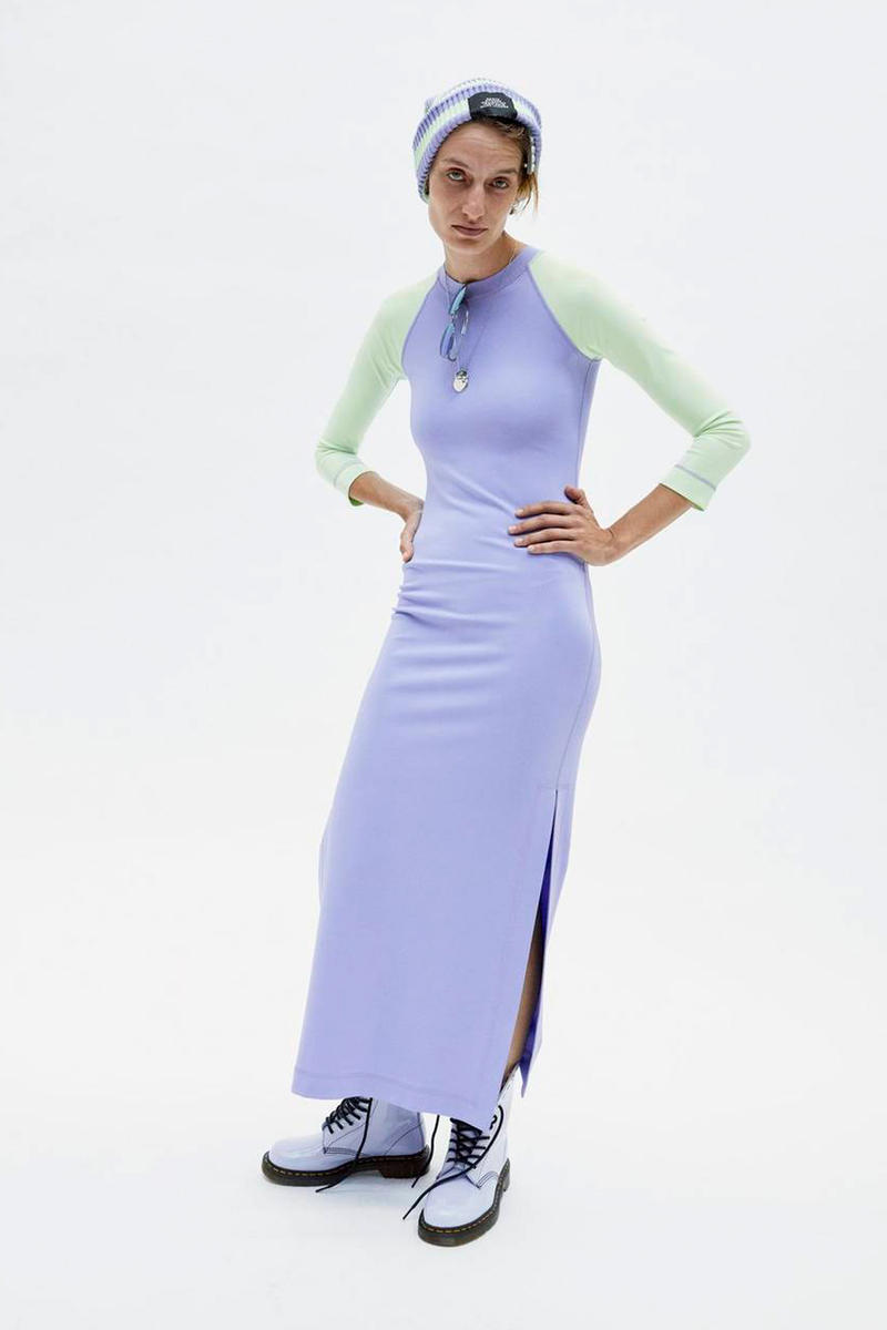 Marc Jacobs Resort 2019 Redux Collection Thin-Striped Knit Beanie Baseball T-shirt Dress Purple