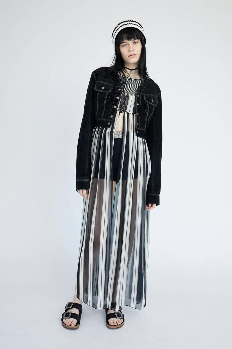 Marc Jacobs Resort 2019 Redux Collection Suede Cropped Jacket Striped Empire-Waist Chiffon Dress Stretch Pointelle Boy Short Black