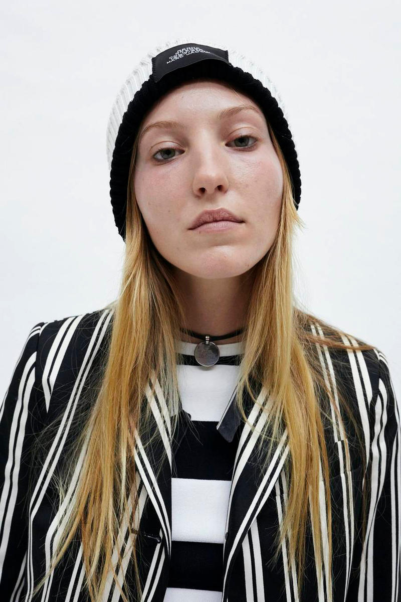 Marc Jacobs Resort 2019 Redux Collection Oversized Striped Button Down Boy Short Long-Sleeve Crop Top Black White