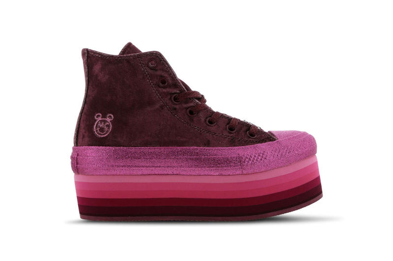 49af38455f04 Miley Cyrus x Converse s New Chuck Taylor Platform Is Covered in Velvet    Glitter. The perfect holiday pair. Converse Chuck Taylor Platform Maroon  Pink
