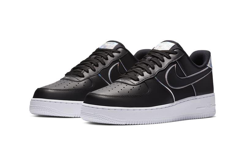 Nike Air Force 1 '07 LV8 Iridescent Silver Black Sneaker Shiny Shoe Detailing Fashion Metallic