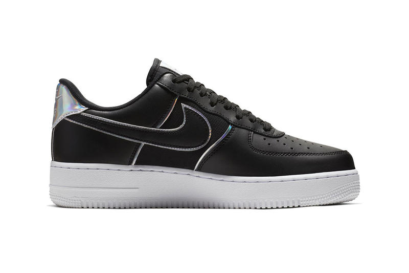 Nike Air Force 1 '07 LV8 Iridescent Silver Black Sneaker Shiny Shoe Detailing Fashion Metallic