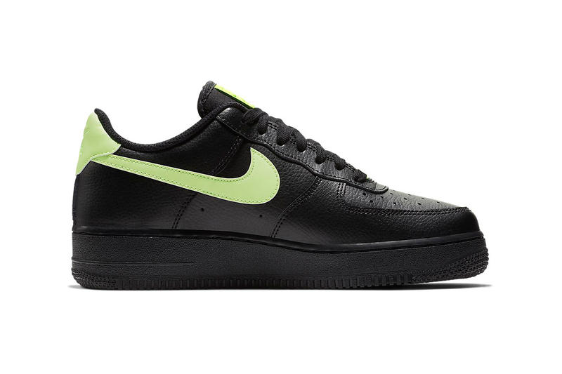 Nike Air Force 1 black leather Orange Pulse Volt Glow Sneakers Trainers