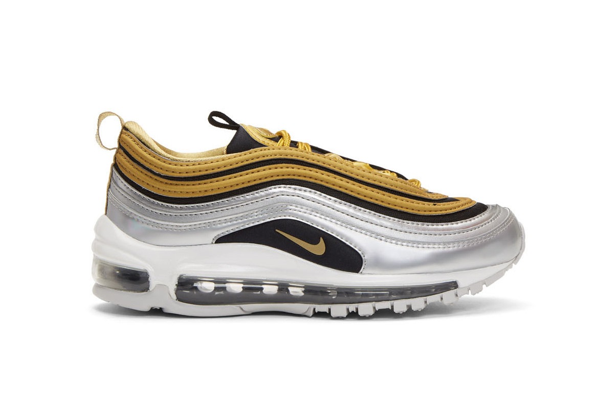 black white and gold air max 97