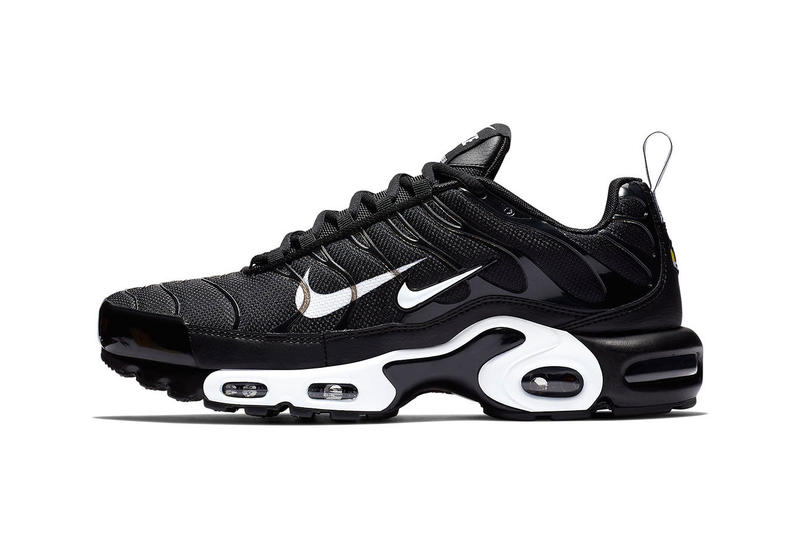 "release date 8218d 75d9e Nike Air Max Plus ""Overbranding"" Series Double Swoosh Black White Sneaker  Shoe"