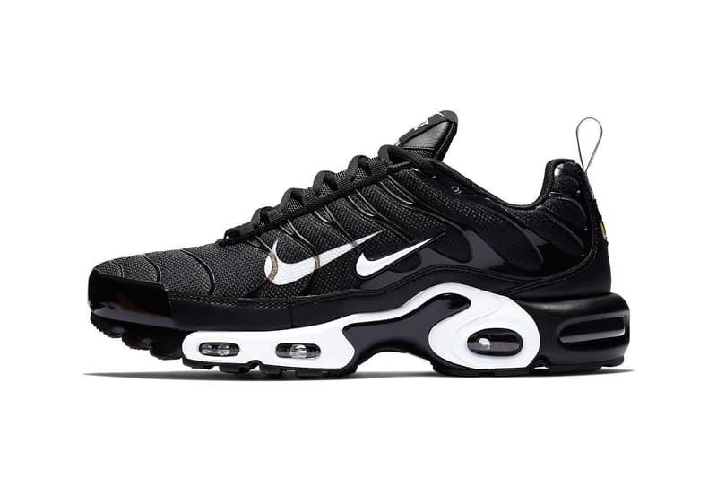 "b2fb1ce256b4 Nike Air Max Plus ""Overbranding"" Series Double Swoosh Black White Sneaker  Shoe"