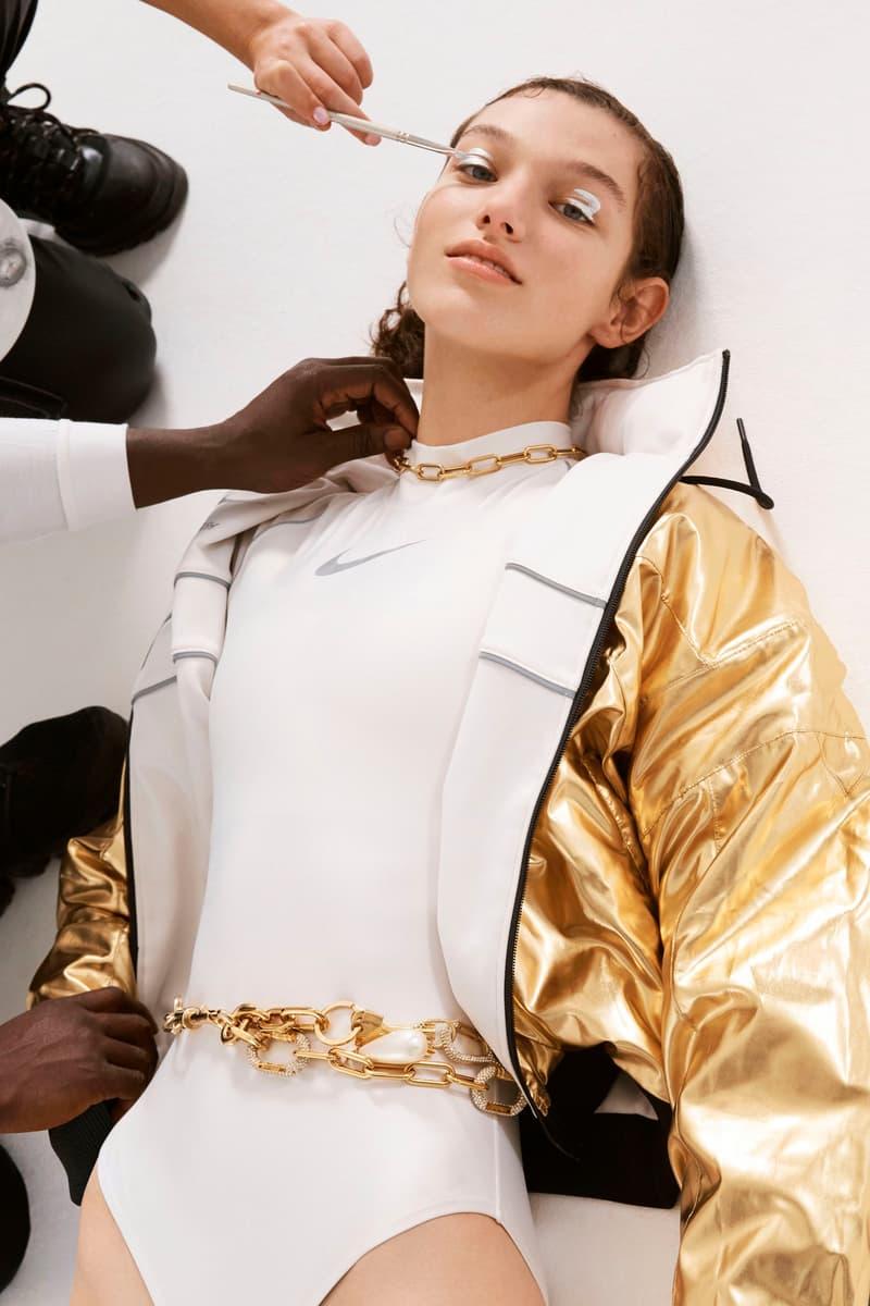 Ambush Nike Yoon Ahn Collaboration Logo Swoosh Bodysuit White Metallic Gold Jacket