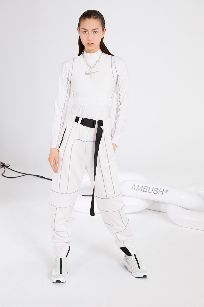 Ambush Nike Yoon Ahn Collaboration Logo Swoosh Lauren Tsai White Track Pants Sneakers Air Max 180