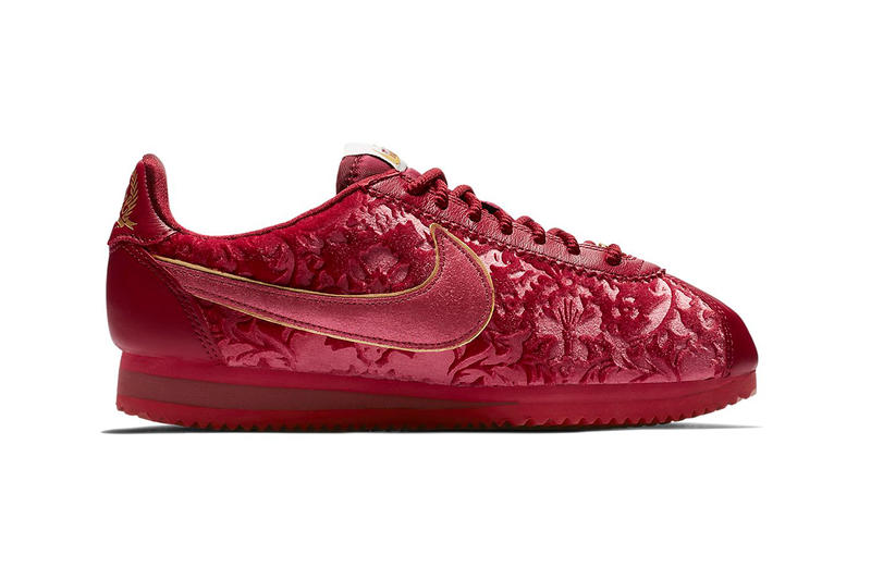 new product 62381 ec7e6 Nike Classic Cortez Floral Velvet Red Crush Womens Sneaker