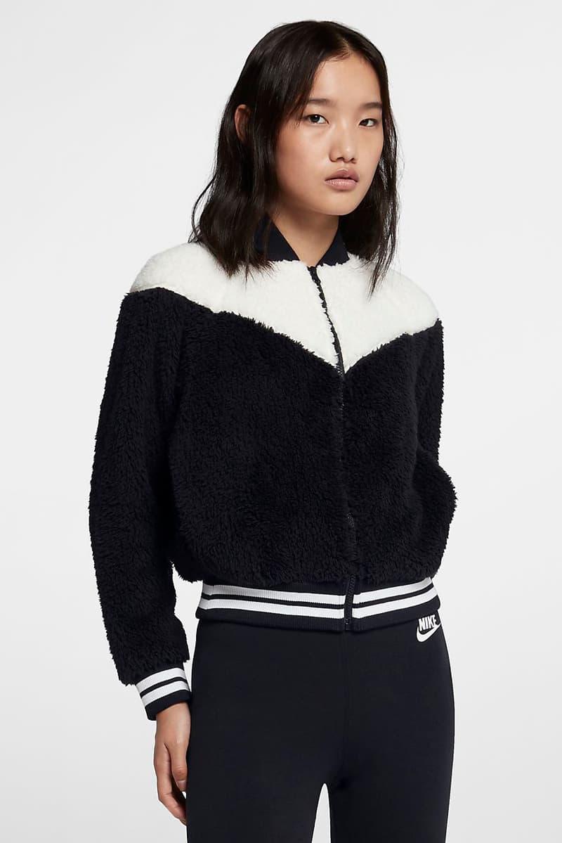 Nike Sportswear Monochrome Black White Women's Sherpa Bomber Jacket