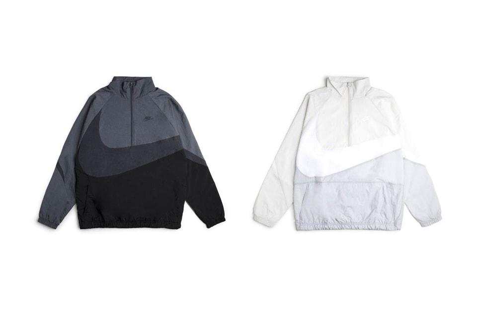30b8f8198f Nike Sportswear s Swoosh Jacket Gray and Cream