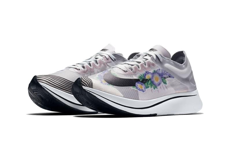 "Nike Zoom Fly SP Arrives in Grey ""Floral"" Design Sneaker Running Shoe Trainer Sporty Upper Translucent"