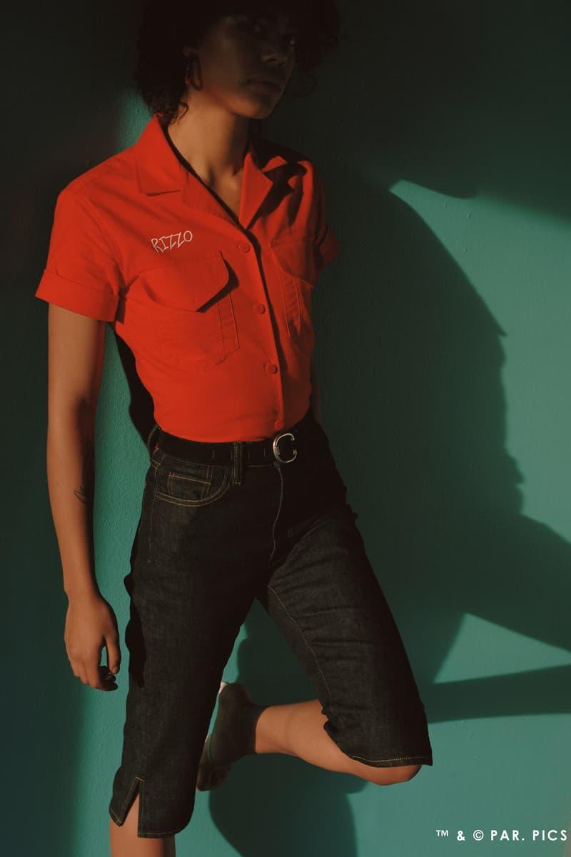 Paramount x Simon Miller Grease Collection Rizzo Shirt Red Denim Capri Pants Blue