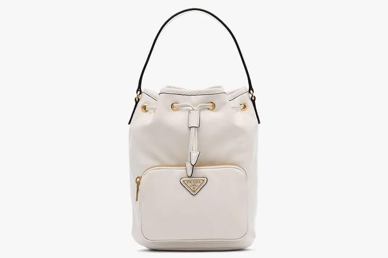 Prada Bracelet Logo Mini Bucket Bag Black White