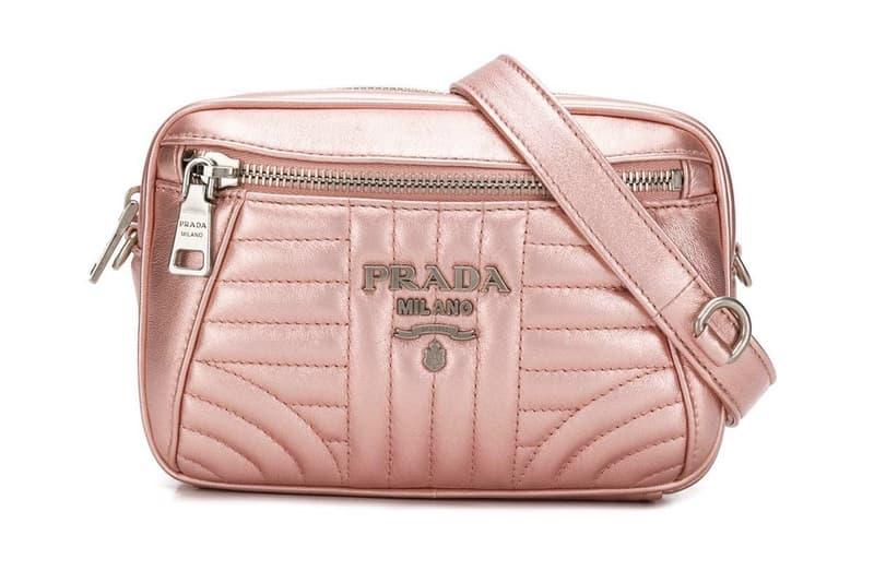 835226cccb0a Prada Metallic Rose Gold Pink Logo Belt Bag