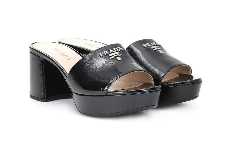 Prada Black '90s Chunky Platform Logo Black Sandals