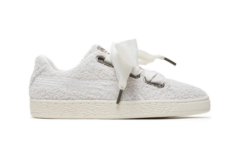 PUMA Basket Heart White Fuzzy Teddy Fur Sneakers Trainers