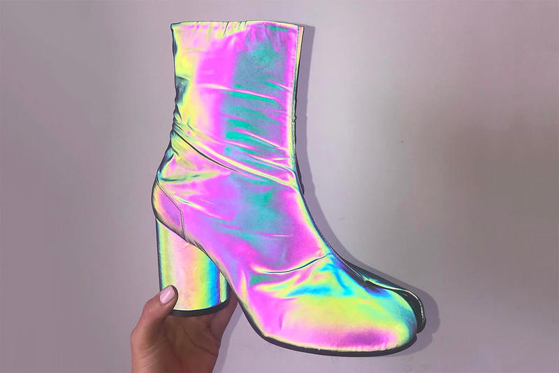 69cdc9b51e3d4 Maison Margiela Reflective Tabi Ankle Boots Iridescent Holographic Fall  Winter 2018