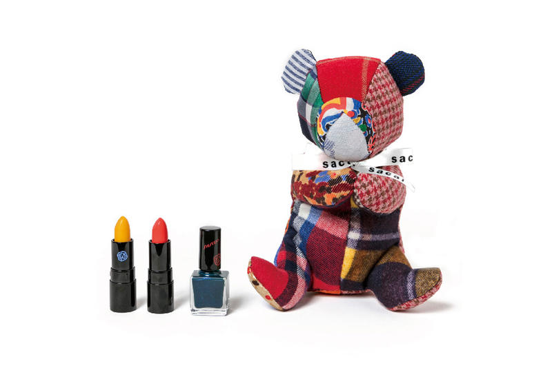 Sacai x Shiseido Lipstick Teddy Bear Makeup Case Rouge Rouge PICO Yellow Orange Nail Enamel Navy