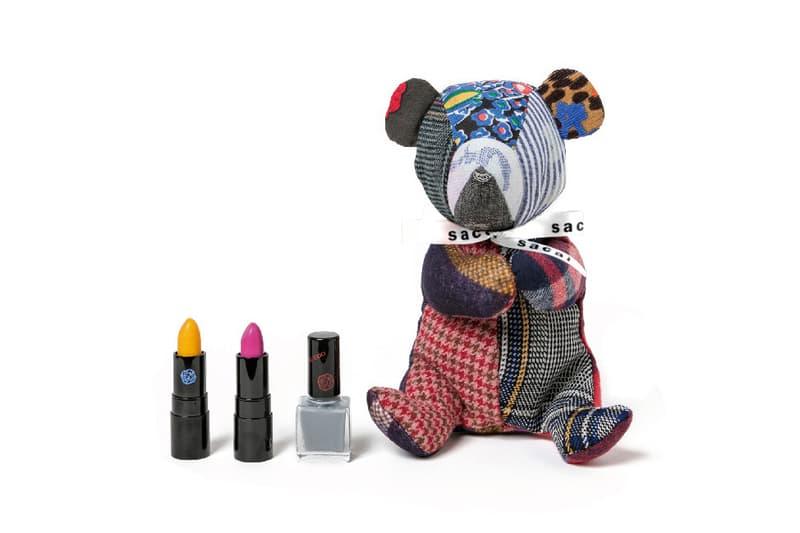 Sacai x Shiseido Lipstick Teddy Bear Makeup Case Rouge Rouge PICO Yellow Rose Nail Enamel Gray