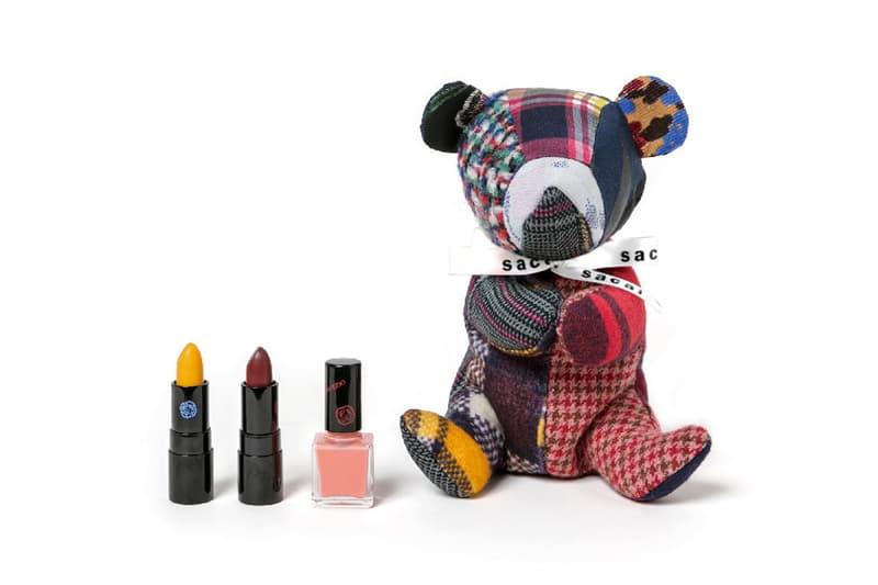Sacai x Shiseido Lipstick Teddy Bear Makeup Case Rouge Rouge PICO Yellow Dark Red Nail Enamel Orange