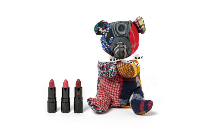 Sacai x Shiseido Lipstick Teddy Bear Makeup Case Rouge Rouge PICO Red Queen Coral Shore Curious Cassis Maroon
