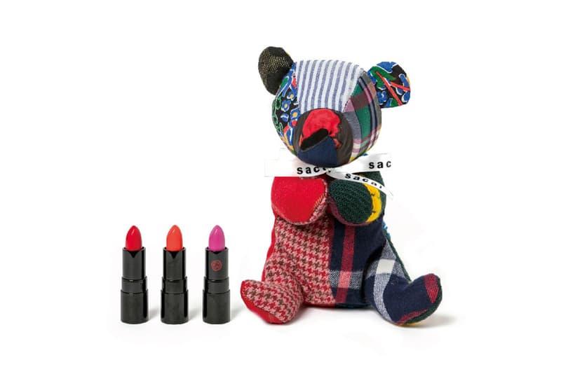 Sacai x Shiseido Lipstick Teddy Bear Makeup Case Rouge Rouge PICO Poppy Fire Topaz Peruvian Pink