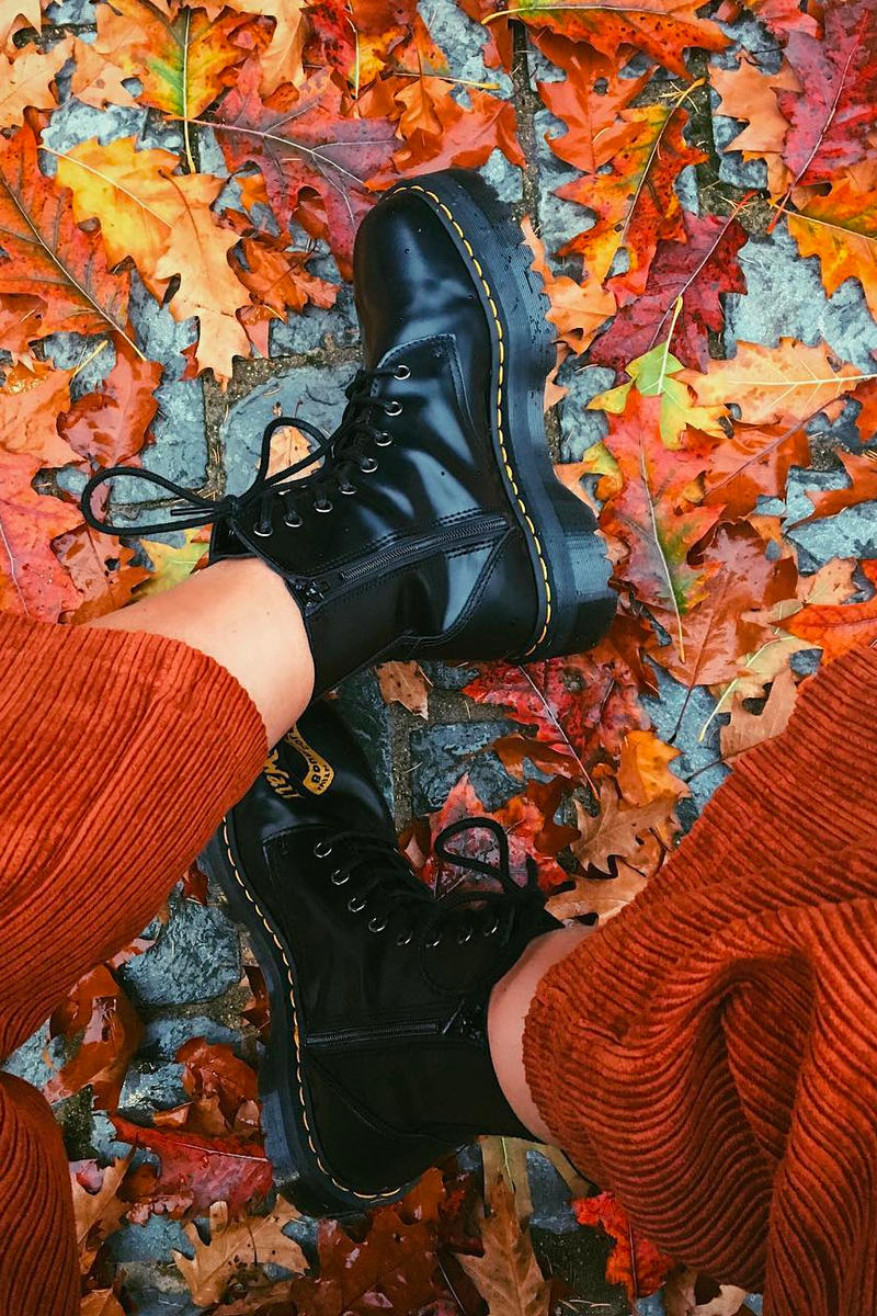 Dr. Martens Jadon Boots Black Leather Platform Fall Leaves Autumn