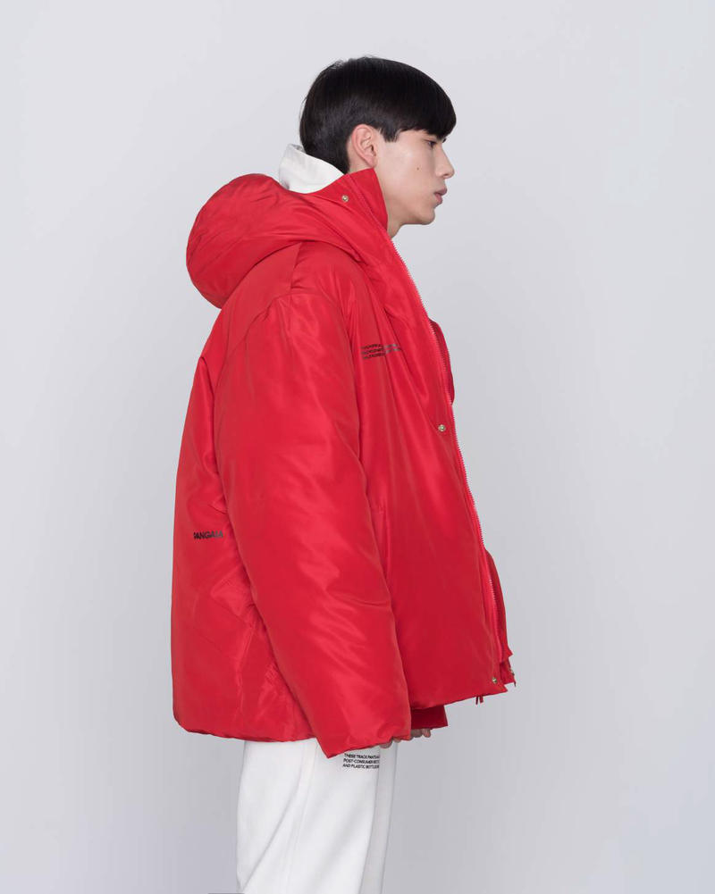 pangaia ethical sustainable brand minimalists pharrell puffer jackets zero waste