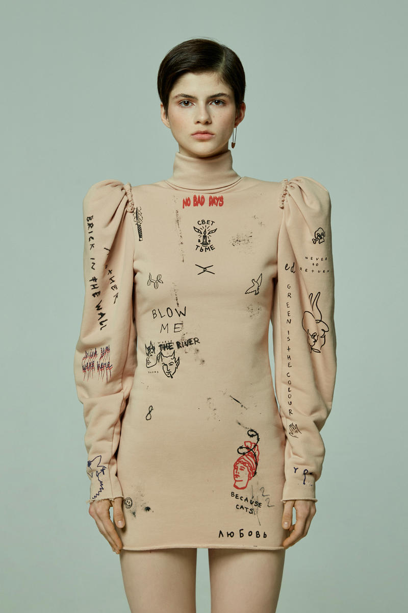 TATTOOSWEATERS Fall Winter 2018 Collection Lookbook High Neck Dress Tan