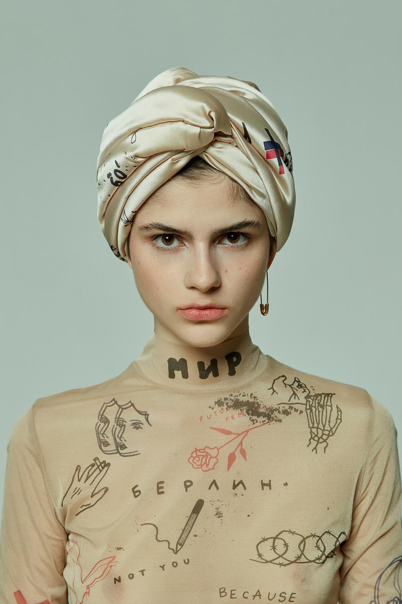 TATTOOSWEATERS Fall Winter 2018 Collection Lookbook Mesh Corset Turban Tan