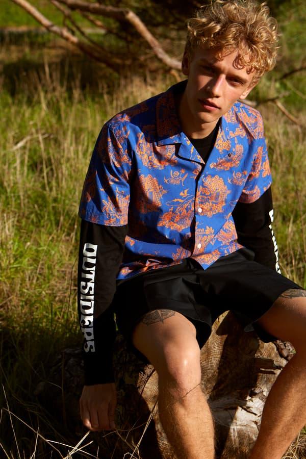 Wood Wood Spring Summer 2019 Lookbook Silk Shirt Blue Peach Shorts Black