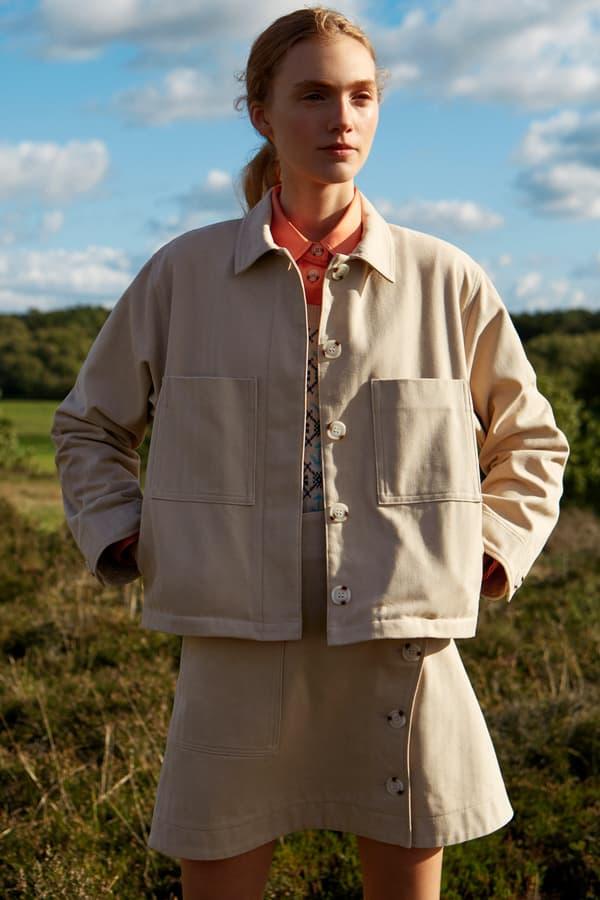 Wood Wood Spring Summer 2019 Lookbook Jacket Skirt Khaki Tan