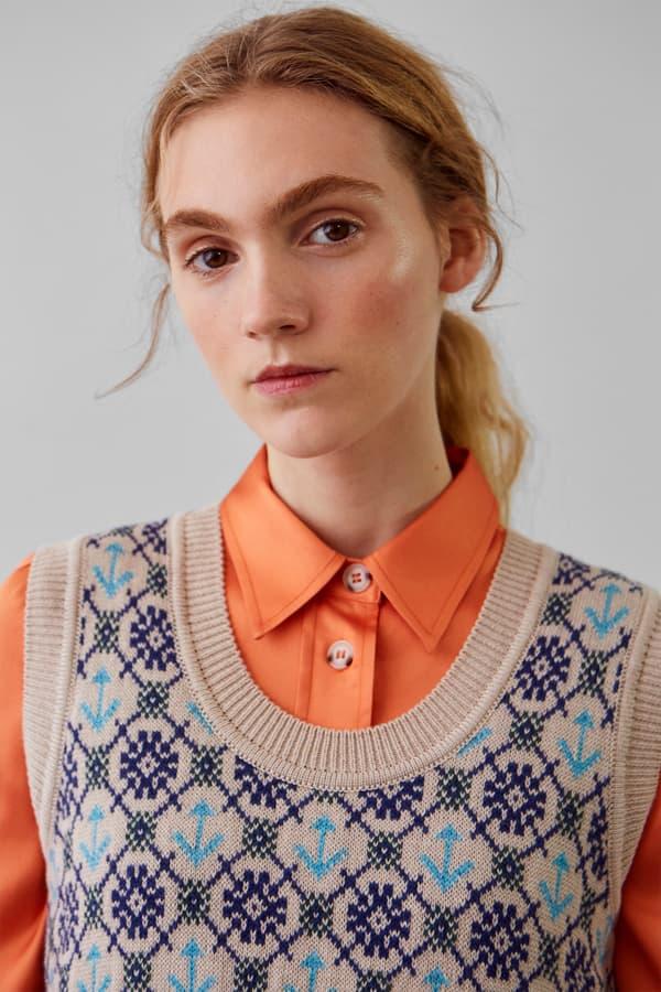 Wood Wood Spring Summer 2019 Lookbook Knit Vest Tan Blue Silk Shirt Peach