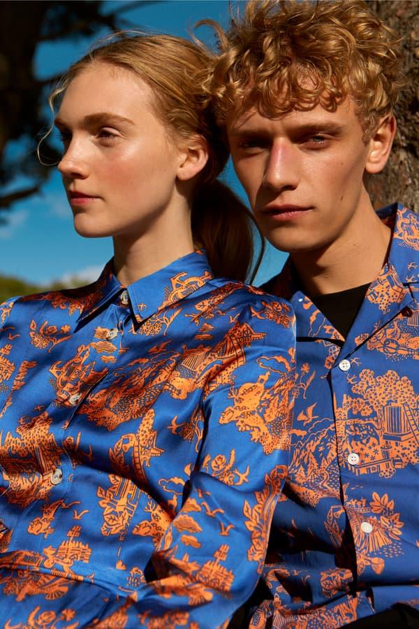 Wood Wood Spring Summer 2019 Lookbook Silk Shirts Blue Peach