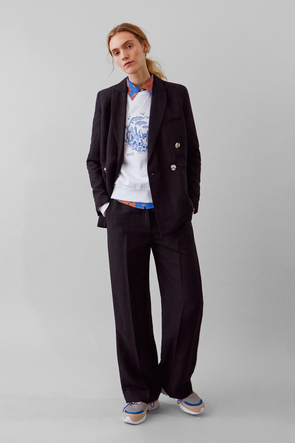 Wood Wood Spring Summer 2019 Lookbook Blazer Trousers Navy T-shirt White