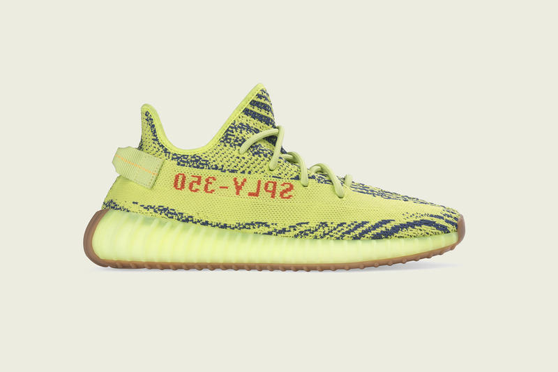 adidas YEEZY Boost V2 Semi-Frozen Yellow Re-Release Zebra Print Sneaker Shoe Kanye West
