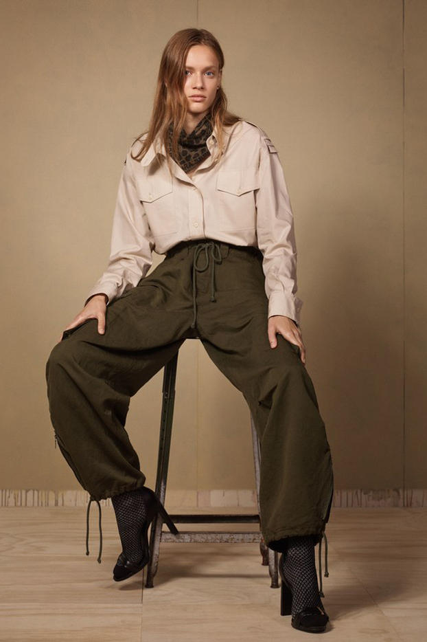 Zara SRPLS 2018 Collection Lookbook Top Tan Cargo Pants Green