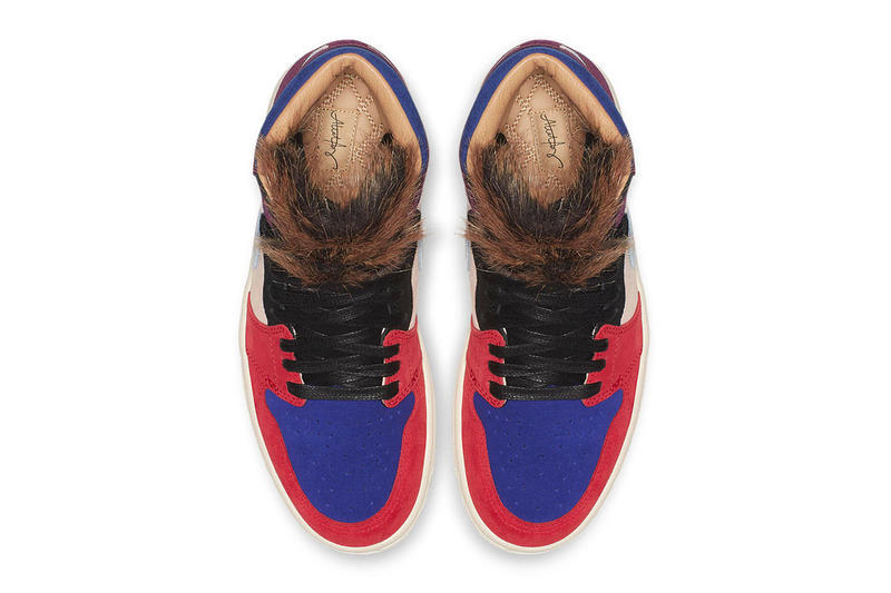 aleali may air jordan 1 collaboration suede faux fur red blue burgundy