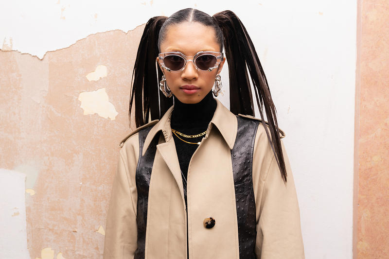 Alexander Wang December 2018 Runway Show Backstage Model Pig Tails Sunglasses