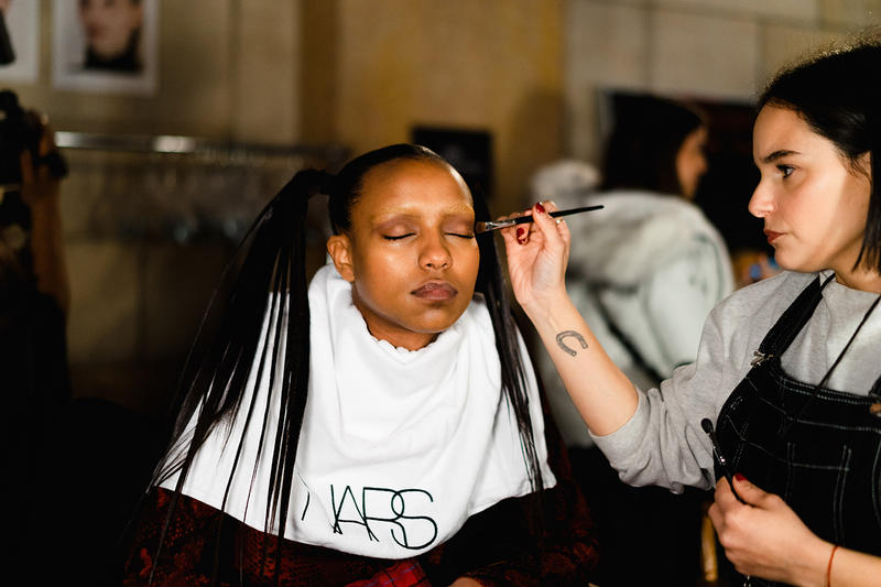 Alexander Wang December 2018 Runway Show Backstage Model Makeup Hair