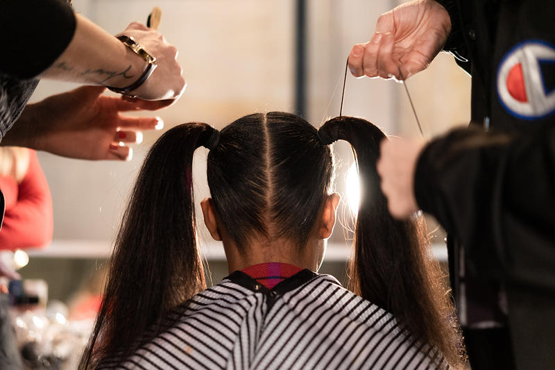 Alexander Wang December 2018 Runway Show Backstage Model Hair Pig Tails