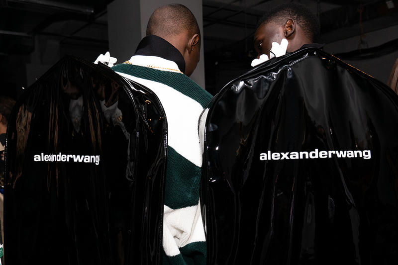 Alexander Wang December 2018 Runway Show Backstage Models logo